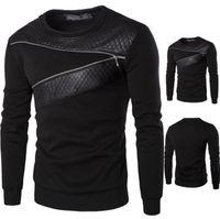 sweat noir manches en cuir achat en gros de-Automne Mens patché Sweatshirts grande taille en cuir noir pull avec Zipper décoration à manches longues Sweat T Shirt pour le printemps et l'automne