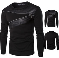 Wholesale black leather shirts resale online - Autumn Mens Patched Sweatshirts Large Size Black Leather Pullover with Zipper Decoration Long Sleeve Sweat T Shirt for Spring and Fall