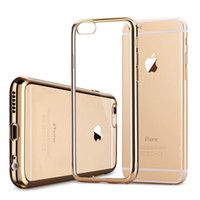 Wholesale Gild Phone - For iPhone 6 6s 7 8 plus 5 5s SE Case Luxury Plating Gilded Transparent TPU Silicone Soft Phone Cases Cover For iPhone X Case