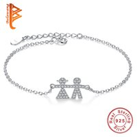 мальчик девочка серебряный шарм оптовых-BELAWANG New Mom Daughter Bracelet 925 Sterling Silver Link Chain Bracelets For Women Children Boy Girl Charm Bangles&Bangles