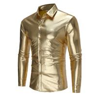 Wholesale Solid Colored Shirts - Brand 2018 Fashion Male Shirt Long-Sleeves Tops Light-Colored Shirt Personality Night Club Mens Dress Shirts Slim Men