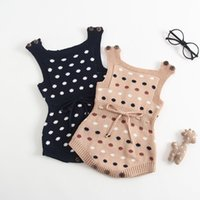 Wholesale baby knitting designs - baby clothing Girls Kids romper polka dots design knitted 100% cotton romper baby kids clothing rompers