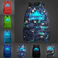 Wholesale wholesale plain notebook - Hot Fortnite Battle Royale Night Luminous School Bag Backpack Notebook Backpack Daily Backpack 10 Styles Support FBA Drop Shipping H345Q