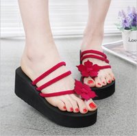 Wholesale thick british women - Sandals and slippers female summer 2018 new British wind thick-soled non-slip flip flops female high-heeled solid fashion beach drag