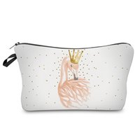 Wholesale gifts for girls pillows resale online - Cosmetic Bags D Printing Flamingo Princess Cute Gift For Girls Makeup Organizer Travel Bags Make Up Storage Bag
