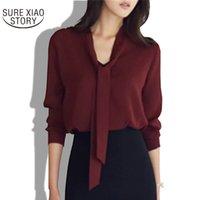 Wholesale Korean Formal Woman Shirt - 2017 spring new women clothing long-sleeved bow tie shirt Korean loose chiffon shirt women solid color blouse 699C 30