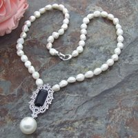 inlaid pearl pendant Canada - Beautiful white baroque freshwater cultured pearl micro inlay zircon accessories shell pearl pendant sweater necklace long 66 cm