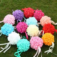 buket çiçeği topu yapay toptan satış-14 cm Yapay Simülasyon Çiçek Topu Zarif EVA Köpük Buket Güvenlik Toksik Olmayan Kokusuz Düğün Gül Çiçek Topları Süslemeleri 13jz B