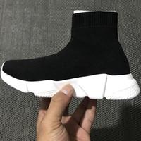 casais miúdos venda por atacado-Botas de Treinador de Velocidade Designer de luxo Meias Stretch-Knit Trainer Sapatos Preto Branco Sneaker Casais crianças sapato Casual euro 26-35