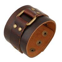 braune manschetten großhandel-Vintage Brown Leder Manschette Armbänder Männlich Schmuck Dekoration Punk Motorrad Armband 25cm Echtes Leder Armreif Breites Armband