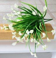 ingrosso aquatic plant-25 teste / bouquet mini artificiale calla foglia seta finta fiore giglio plastica piante acquatiche decorazione della casa