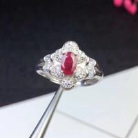 ingrosso anello rubino naturale argento-Anello rubino Spedizione gratuita Natural real ruby 925 sterling silver 0.6ct gemstone Fine jewelry lavorati a mano anelli # SB18100306