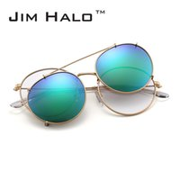 Wholesale clip sunglasses mirror - Jim Halo Round Polarized Clip On Sunglasses Metal Frame Mirror Circle Lens Men Women Retro Vintage Steampunk Sun Glasses Oculos De Sol Gafas