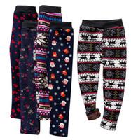 kinder leggings stil großhandel-19 stil mädchen schlank plus samt warme hosen strumpfhosen leggings hosen kinder weihnachten schneeflocke gestrickte warme strümpfe hosen babykleidung
