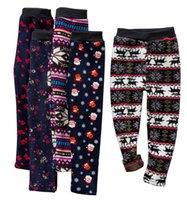 Wholesale snowflake clothing online - 19 Style Girls Slim Plus Velvet Warm Pants Tights Leggings Trousers Kids Christmas Snowflake Knitted Warm Stockings Pants Baby Clothes