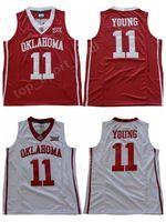 equipe de equipamentos de basquetebol venda venda por atacado-NWT Men Trae Jovem 11 Oklahoma Sooners Jerseys Universidade Trae de Basquete Jovem Faculdade Jersey Venda Equipe Cor Vermelha Fora Branco Uniforme Esportivo