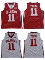 ingrosso sport di squadra uniformi di pallacanestro-NWT Men Trae Young 11 Oklahoma Sooners Maglie Università Basket Trae Young College Jersey Vendita Squadra colore rosso Uniforme bianca Sport