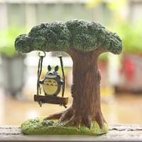 Wholesale Plastic Trees Model - Studio Ghibli Totoro Figure DIY Miyazaki My Neighbor Totoro Swing Tree Resin Action Figure Toy Classic Model Toys for Home Decor