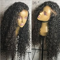meilleures perruques crépus achat en gros de-Wholesale Best Quality Black Long Kinky Curly Cheap Wigs with Baby Hair Heat Resistant Glueless Synthetic Lace Front Wigs for Black Women