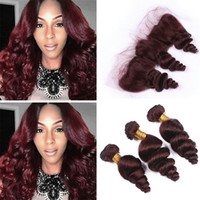 Wholesale 99j human hair wavy - Wine Red Burgundy Brazilian Hair Bundles with Frontal Lace Closure #99J Loose Wave Wavy Human Hair Weaves with Full Lace Frontal