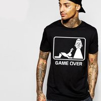 Wholesale Fun Games Men - Wholesale-Fun Casual T Shirts Marry Game Over Slim Fit Cotton Husband Wife Printing Men's Summer T-shirt 2016 Camisetas Personalizadas