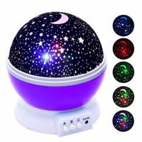 noche luces estrellas luna al por mayor-Estrellas Starry Sky LED Proyector de luz nocturna Luminaria Moon Novedad Table Night Lamp Batería USB Night light Para niños