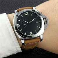 Wholesale 2018 Fashion man leather watch pam luxury male wristwatch with daydate high quality steel black brown leather man watches
