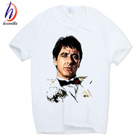 Wholesale Movie Crew - 2017 Print Famous Movie Scarface Fashion T-shirt O-Neck Short Sleeves Summer Casual White Tony Montana T Shirt HCP625