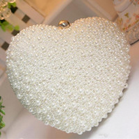 Wholesale heart shape clutch bag - 2018 Heart Shape Pearl Beaded Evening Bag Day Clutches Bridal Clutch Purse Wedding Chain Shoulder Bag Cell Phone Pouch