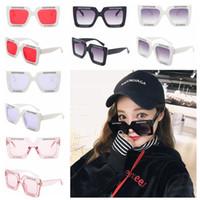 Wholesale rectangular sunglasses - Oversized Rectangular Sunglasses Retro big square round face letters black frame tide female personality sunglasses GGA135 50PCS