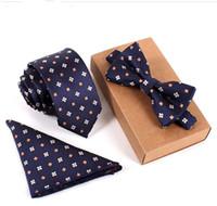 marineblaue seidenblumen großhandel-20 Stil Slim Tie Set Männer Fliege und Einstecktuch Fliege Krawatte Cravate Taschentuch Papillon Man Corbatas Hombre Pajarita