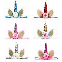 Wholesale stylish headband hair for sale - Hair Accessorie Baby Unicorn Party Hair Accessories Stylish Little Ear Children Headband Rose Flower Party Stretch Hairband