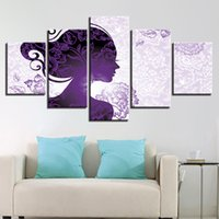 Wholesale purple picture frames - Purple Flowers Poster Decor 5 Pieces Beautiful Woman Painting Living Room Modular Canvas Pictures HD Printed Wall Art Framework