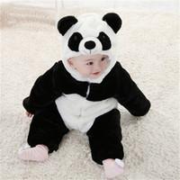 пижамная пижама panda оптовых-2016 New Baby Animal Costume Cute Climbing Pajamas Romper Jumpsuit Coverall Lovely Panda Rompers for Kids