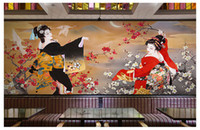 papel pintado japonés para paredes al por mayor-Japanese Sushi Cuisine Shop Wallpaper Restaurant Hotel Theme Package Pared de fondo mural 3d Japanese Ladies Wallpaper