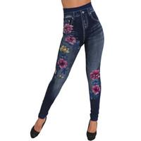 imitação de leggings denim venda por atacado-Ginásio Leggings Mulheres sem costura imitação de algodão denim flor impressão leggings esporte femme fitness # GUAHAO