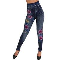 ingrosso gilet leggendarie in denim-Leggings da ginnastica da donna Senza cuciture in cotone imitazione denim stampa a fiori leggings sport femme fitness # GUAHAO