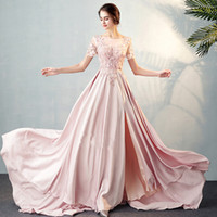 Wholesale shot gown for sale - Group buy 2019 Elegant Split Evening Dresses D Appliqued Scoop Neck A line flared shot sleeves plus size Prom Dress Real Images Cheap Formal Gowns