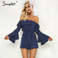 Wholesale women playsuit dots - SimpOff shoulder ruffle dot sexy jumpsuit romper women Flare sleeve sash summer jumpsuit Causul sweet chiffon playsuit