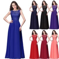 Wholesale Cheap Wedding Gowns Blue - 2018 Spring Summer Lace Chiffon Bridesmaid Dresses Real Pictures A Line Jewel Neck Cheap Wedding Guest Dresses Prom Evening Gowns CPS463