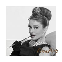 Wholesale painting quotes black white for sale - Group buy hand painted oil paintings audrey hepburn black and white canvas art discount wall art quotes decorative painting