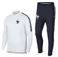 Wholesale french long - French training suit 1819 Euro Cup maillot de foot French national football training wear long sleeved tracksuit football jacket pants
