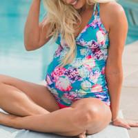 ingrosso abbigliamento di bambù-Costumi da bagno donna maternità Tankini gravidanza floreale costume da bagno abiti da spiaggia bikini estate nuotata costumi da bagno sexy per le donne incinte