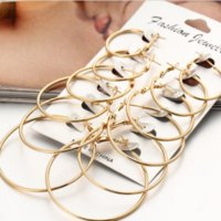 Wholesale gold filled 18k hoops resale online - 6Pairs set Women Gold Silver Vintage Big Circle Hoop Earrings Steampunk Ear Clip