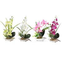 ingrosso rosa bonsai-Matrimonio Rosa / Verde / Viola / Bianco Phalaenopsis Orchidea Fiori di seta artificiale 7 Testa Simulazione Phalaenopsis Bonsai Simulazione di acqua