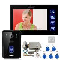 camera lock großhandel-7 Zoll Farbmonitor Touch Video Türsprechanlage Intercom Türklingel Home Security IR Kamera Elektronische Lock RFID Keyfobs