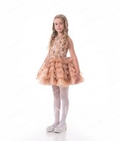 Wholesale beauty pageants online - Beauty Champagne Tulle Beads Short Flower Girl Dresses Princess Dresses Girl s Pageant Dresses Custom Made Size KF327239