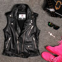 echtes lederjacken verkauf großhandel-Freies Verschiffen Sleeveless Frauen-echtes Leder-Jacken-Motorrad-Weste-Leder-Mäntel auf Verkauf
