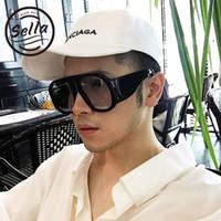 уникальные очки оптовых-Sella 2018 Fashion Men Women Oversized Round Sunglasses Brand Designer Unique Popular Gradient Lens Glasses Eyewear Frame UV400