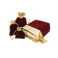 benutzerdefinierte logo drawstring tasche großhandel-Velvet Jewelry Pouch Bag mit Kordelzug Stoff Schmuck Handwerk Kosmetische Geschenkverpackung Mehrzweck kleine Taschen Custom Logo Kostenloser Versand